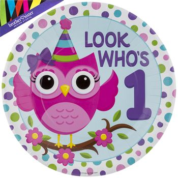 Large Owl 1st Birthday Party Plates