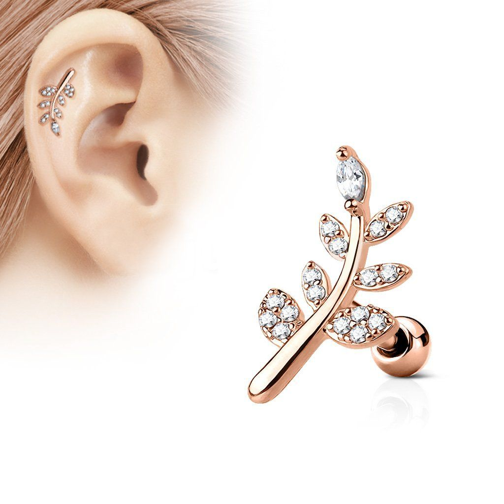 New Rose Gold Plated over Surgical Steel Tragus Labret Piercing Bar Stud 16g
