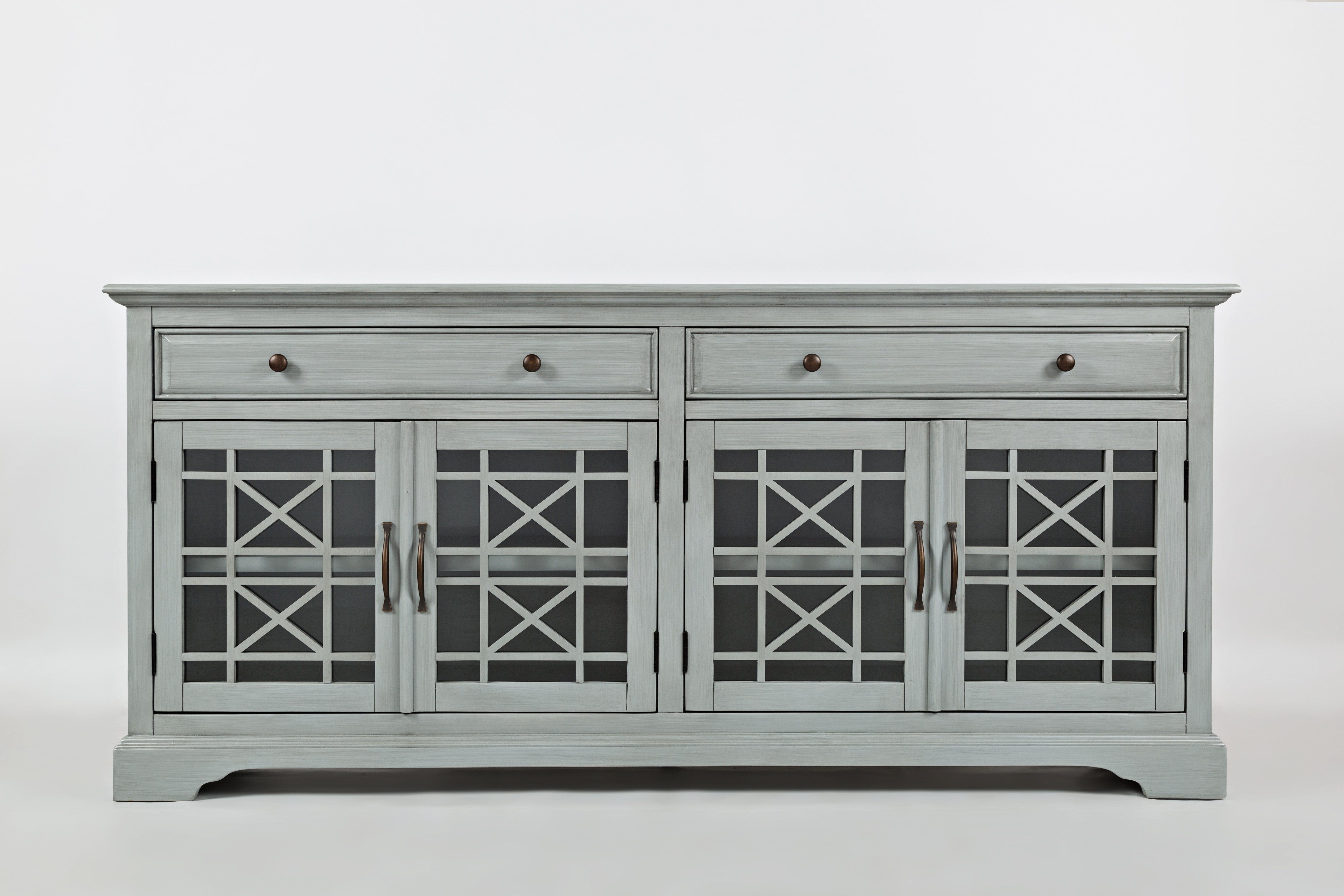 Craftsman Series 70 Inch Accent Cabinet With Fretwork Glass Front Earl Gray Bm184062 In 2021 Family Room Design Tv Stand Cool Tv Stands 70 inch media console