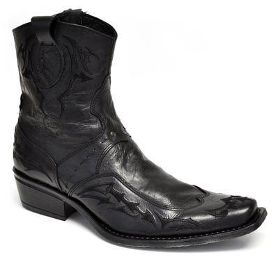 urban cowboy men's fashion boot  black  mens leather