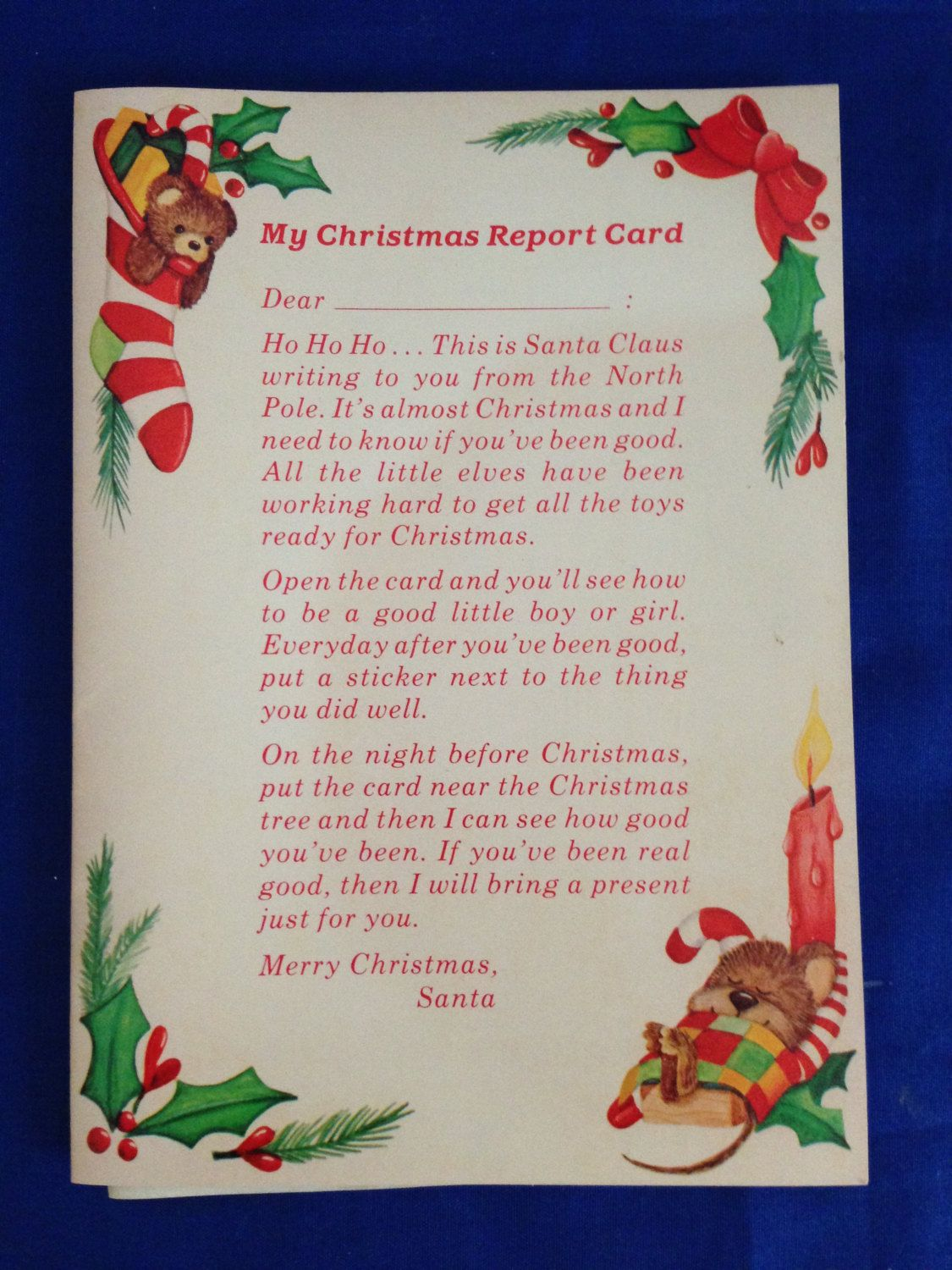 Russ Berrie Childrens Christmas Report Card Greeting Card Etsy Childrens Christmas Merry Christmas To All Cards