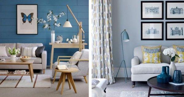 Azul gris y madera interiorismo residencial pinterest for Pintura pared gris azulado