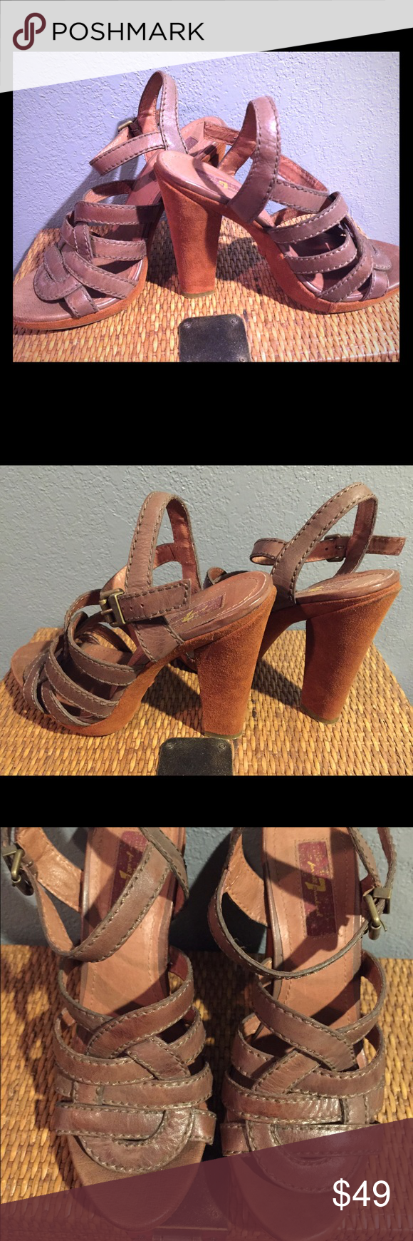 7For All Mankind heels Brown leather 7For All Mankind heels. I bought them and wore them twice. They are a 7.5 and are just too snug for me. I am a true size 8. Just wasn't able to pass them up when I originally bought them. 7 for all Mankind Shoes Heels