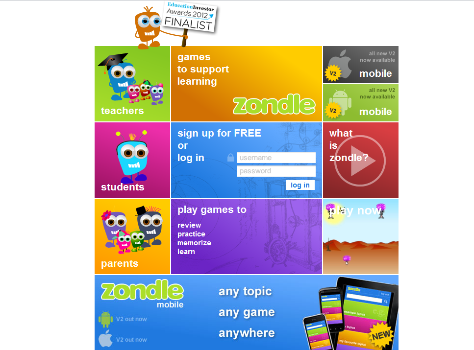 "zondle… Create fun games with your own content or ""borrow from others. It's FREE!  #games #edtech  I spent quite a bit of the afternoon fooling around with zondle.  Zondle in a nutshell: You create quiz questions/answers and zondle turns them into fun games for your students."