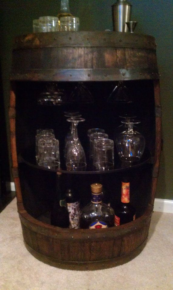 Merveilleux Whiskey Barrel Display Liquor Cabinet By BarrelWorx On Etsy, $325.00