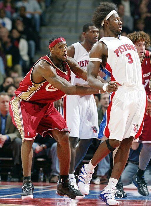 3e9a07ea57e3 LeBron James Cleveland Cavaliers Ben Wallace Detroit Pistons ...