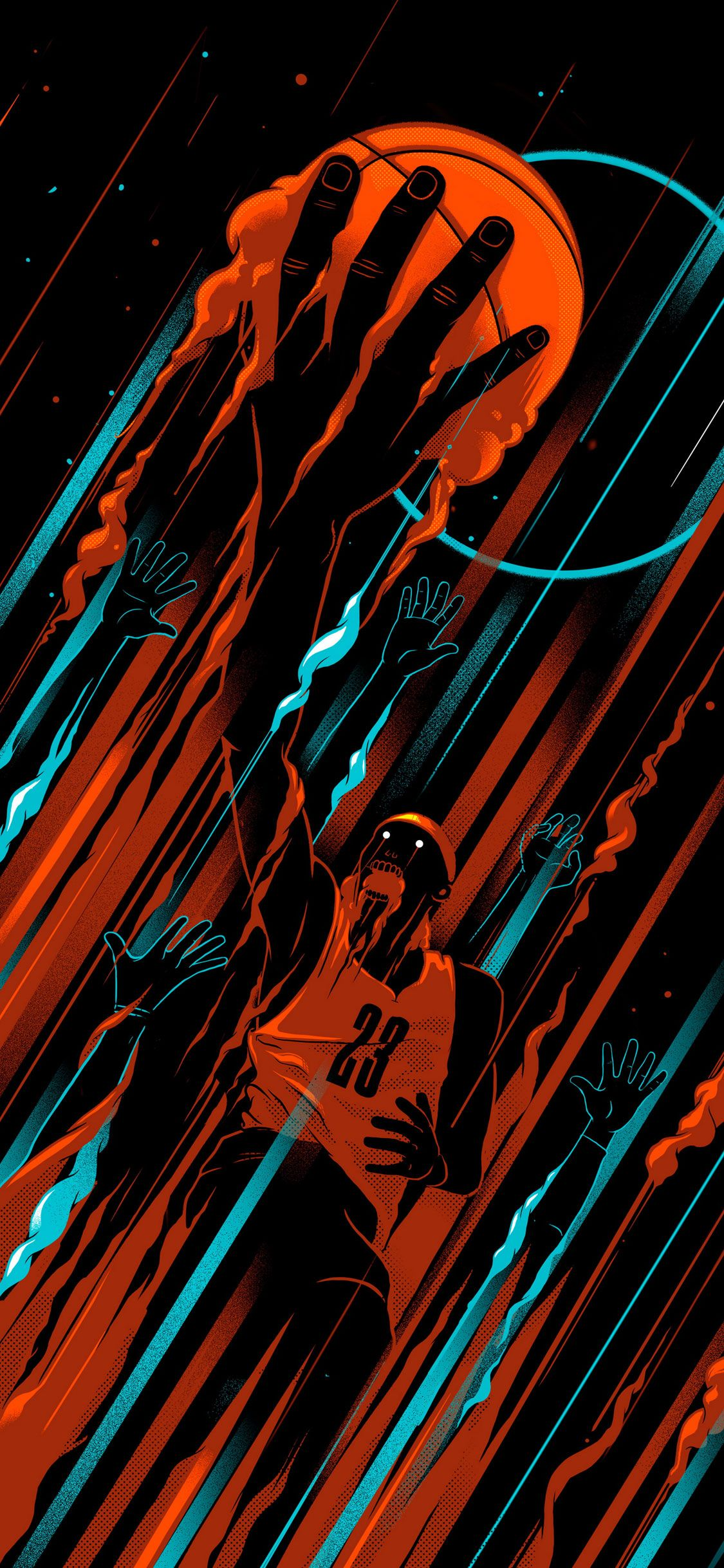 Basketball iPhone X Black Wallpaper Fond d'écran sympa