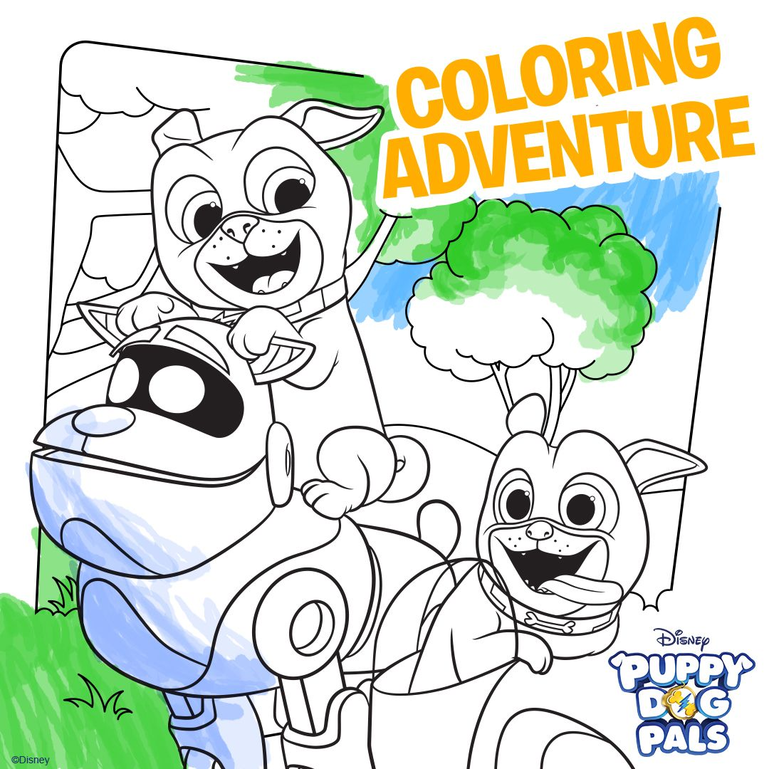 Puppy Dog Pals Printable Coloring Sheets Go On A Coloring Adventure With Bingo And Rolly With Thi Halloween Coloring Sheets Halloween Coloring Puppy Party