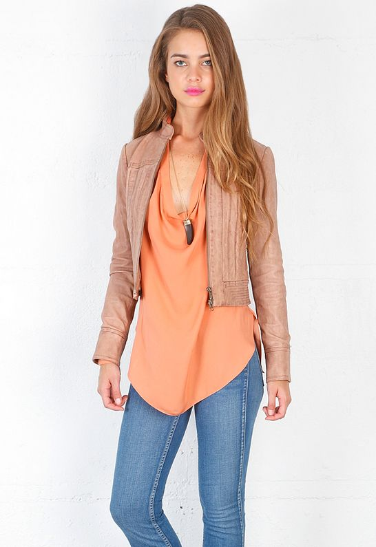 Haute Hippie Distressed Leather Jacket with Pintucks