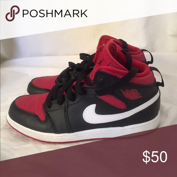 Air Jordan 1 Mid Black/Gym Red/White Size 2.5 Jordan Shoes