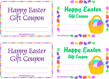 Printable Gift Voucher Template Printable Customizable #easter Gift #coupons Two Different Cute .