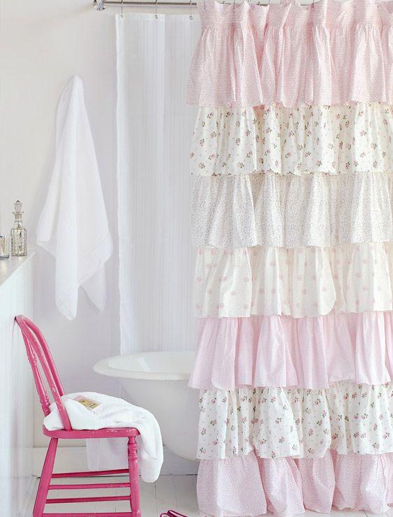 Shower Curtain French Ruffle Camryn Shabby Chic Shower Curtain