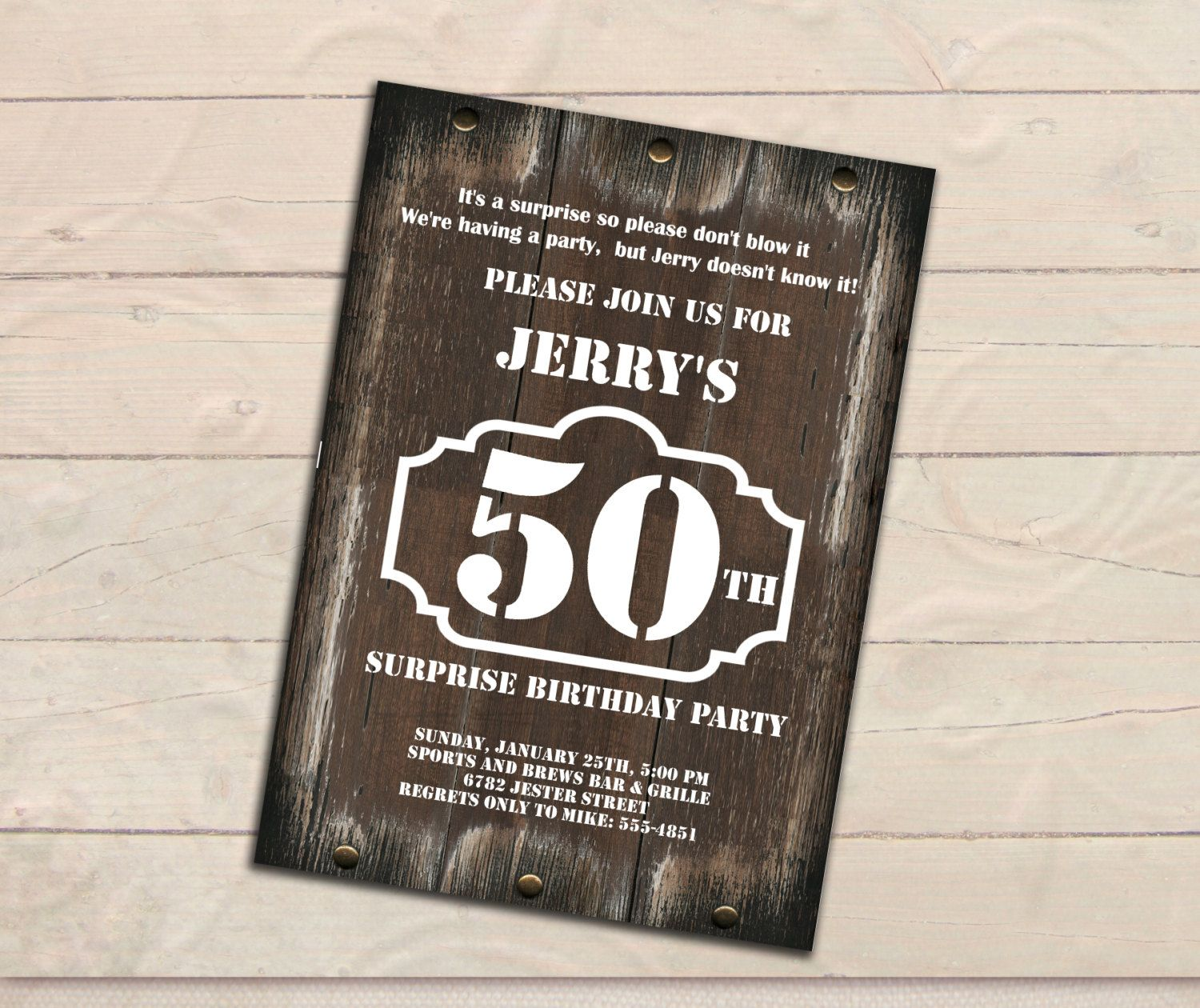 Surprise 50th Birthday Invitation, Men Invitation, Rustic wood, Any ...