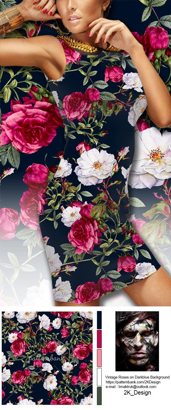 Vintage roses on darkblue background seamless vintage roses