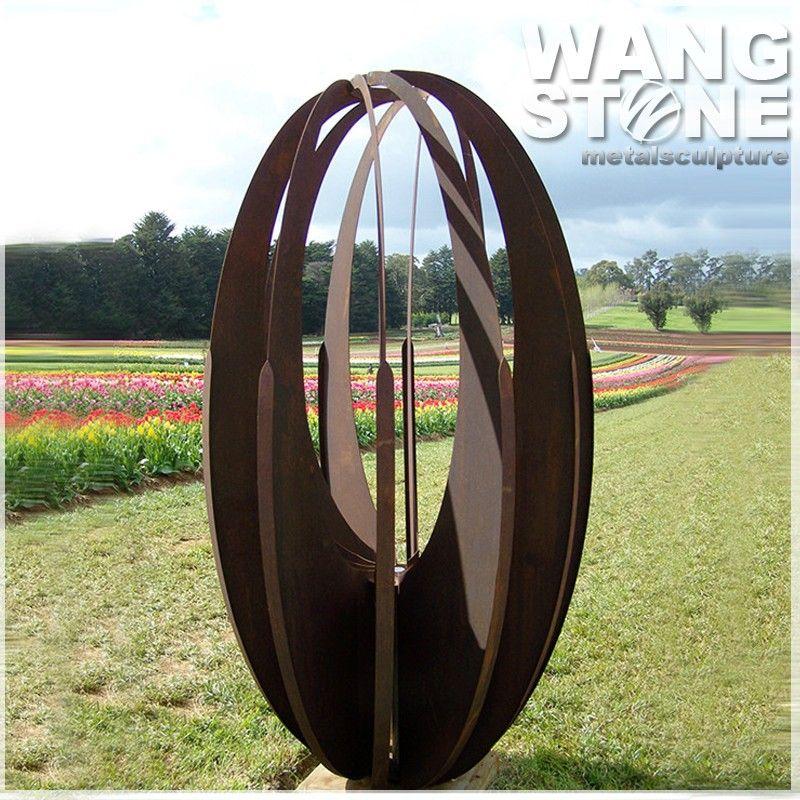 Corten acier oeuf rouill jardin en m tal art sculpture - Sculpture metal jardin ...