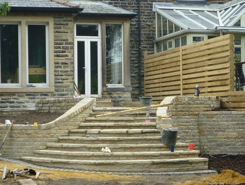 paperbark garden design yorkshire stone steps sweeping and patio terrace with stone walls - Garden Design Yorkshire