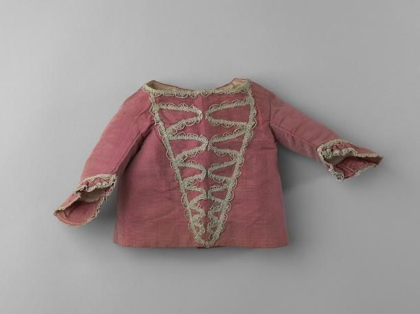 Infant's jacket, 1750-1770. Purple silk rips, decorated with grey braid, linen lining.