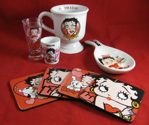 Betty Boop Kitchen Lot 2 Shot Gles 1 Mug 4 Coasters And