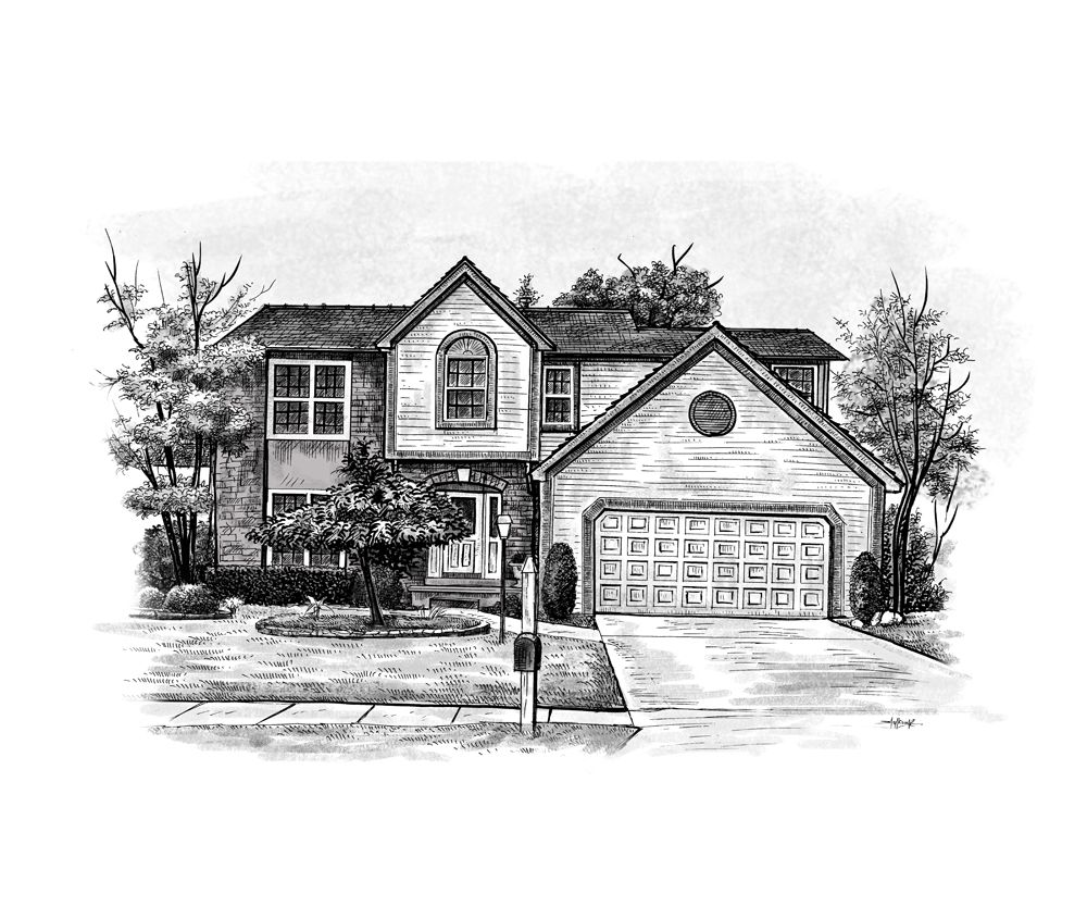 Home Sketch / House Sketch Art From A Photo   Only From  GiveAmasterpiece.com / Art Gallery Home Examples