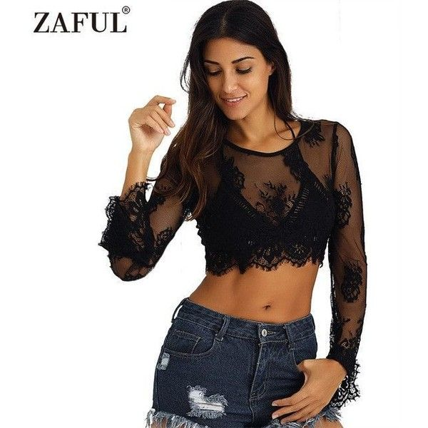 734f90211ff2b ZAFUL 2017 New Women Sexy Black Lace Crop Top Alluring See-Through ...