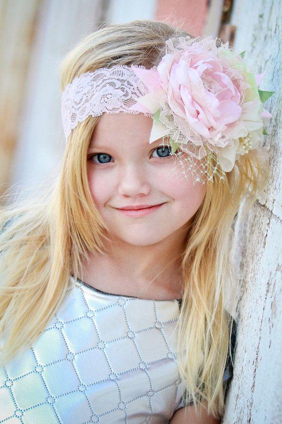 Some Bunny Loves You / Couture Easter Headband, Baby Girl Flower Headband, Photo Prop, Headband, Pink, Cream and Mint Headband