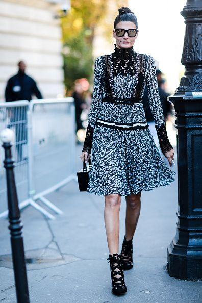 Giovanna Battaglia is seen outside of the Giambattista Valli show during Paris Fashion Week Spring Summer 2017 at Grand Palais on October 3 2016 in...