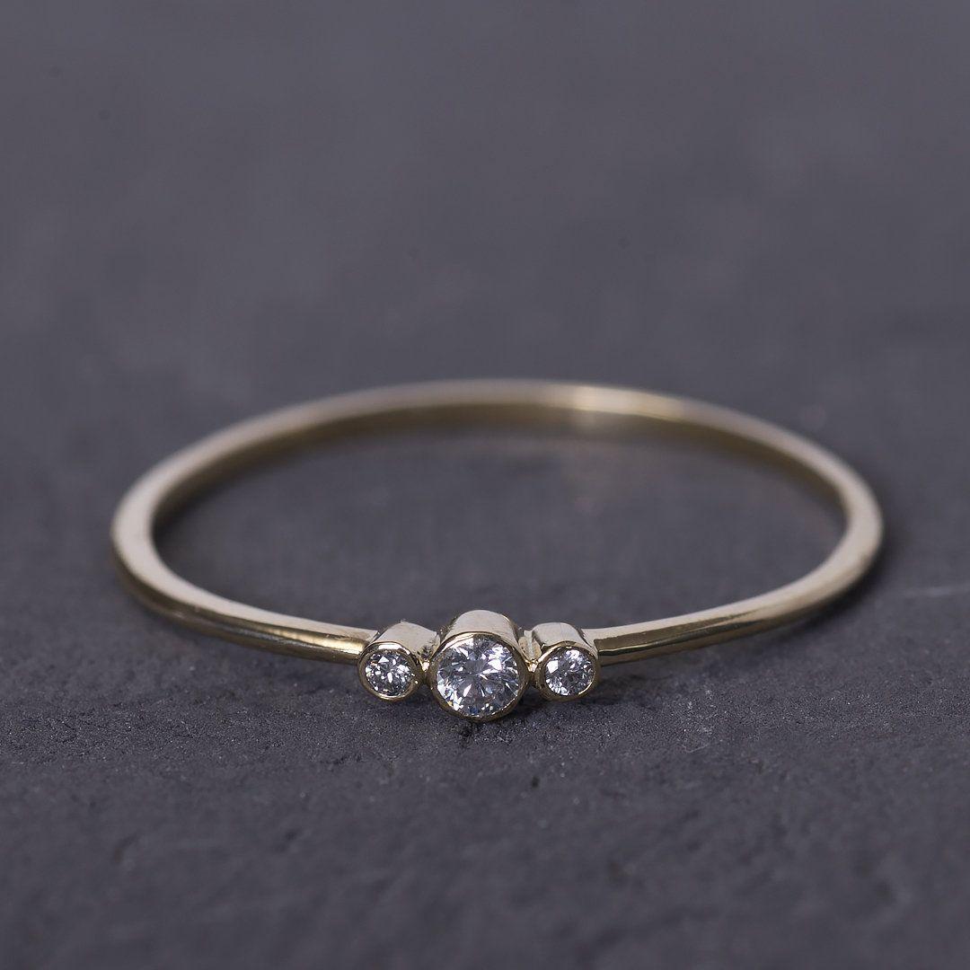 Simple Engagement Ring, 14K Gold Ring Women, Diamond ...