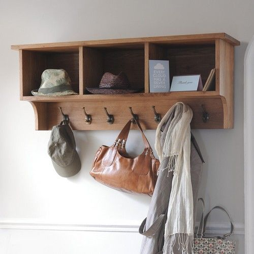 Montague Oak Storage Shelf And Hooks