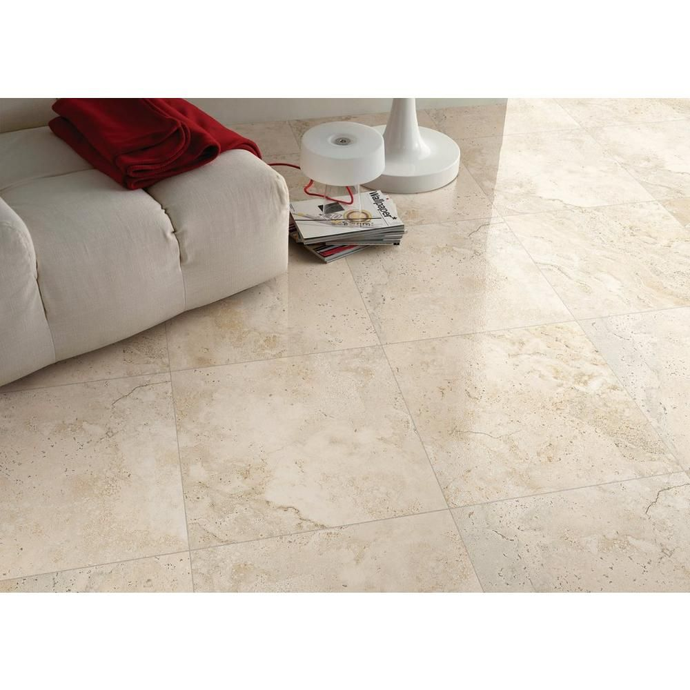 Tarsus Almond Polished Porcelain Tile 24in. x 24in
