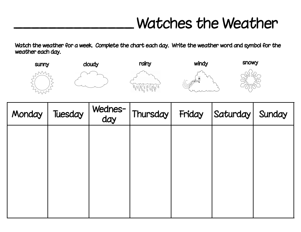 Weather Watch Project Pdf Preschool Weather Teaching Weather Weather Chart