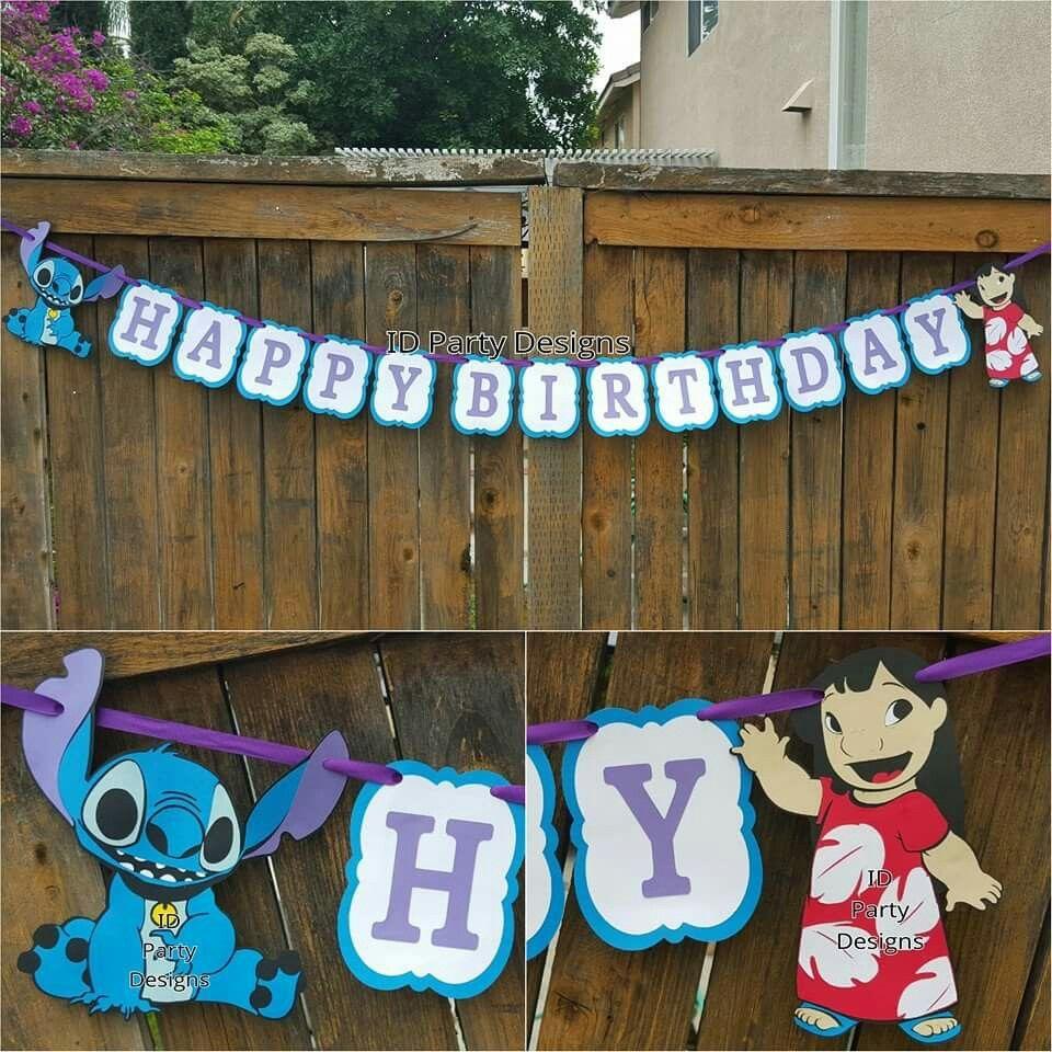 Lilo And Stitch Birthday Banner Lilo And Stitch Baby Shower Banner