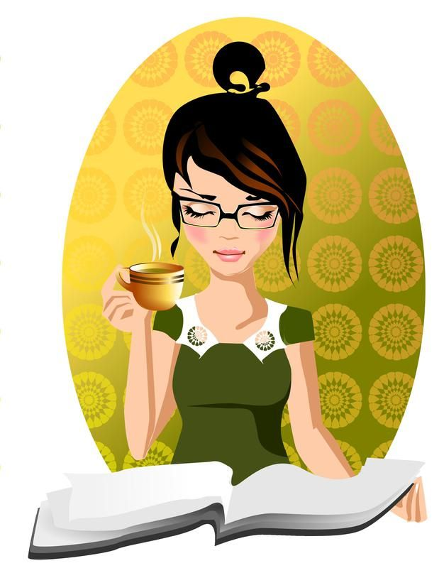 Yep, this is me with my glasses, coffee, messy hair bun and reading material. The only thing missing is a spoo or two.