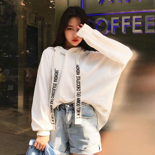 Mode Sweats à capuche Femme 2017 Automne Style coréen Ulzzang Harajuku  Ruban Mince Sweat À Capuche Femmes Casual À Capuche