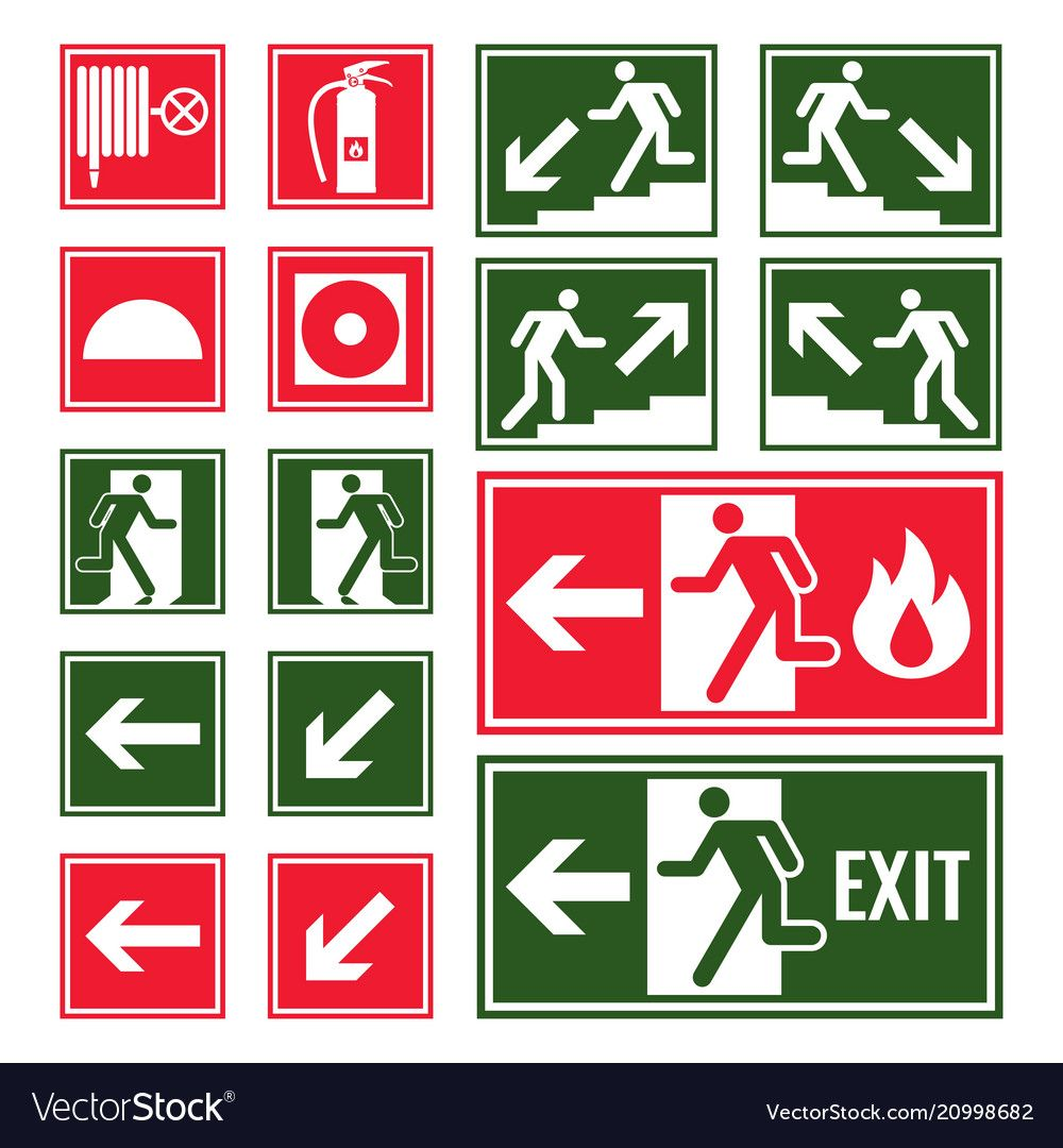 Evacuation and emergency signs in green and red vector