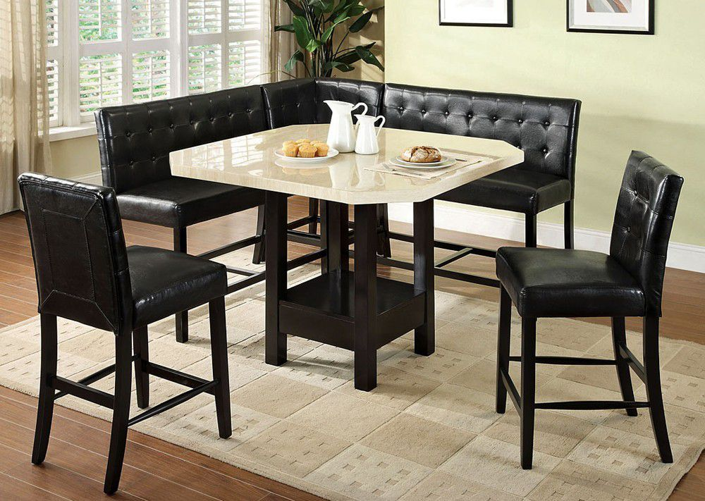 6 PC Furniture of America Bahamas Counter Height Dining Table Set & Modern High Top Bar Table Set Also Sofa Design With Barstools And ...