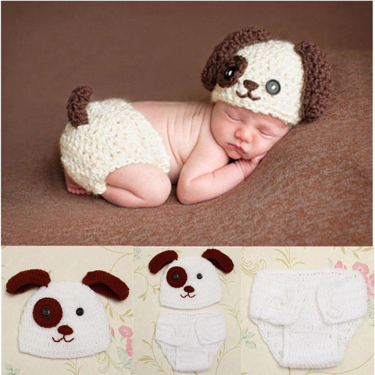 83489cfa2ad2 Newborn Baby Boys Crochet Knit Costume Puppy Dog Hat Photography ...