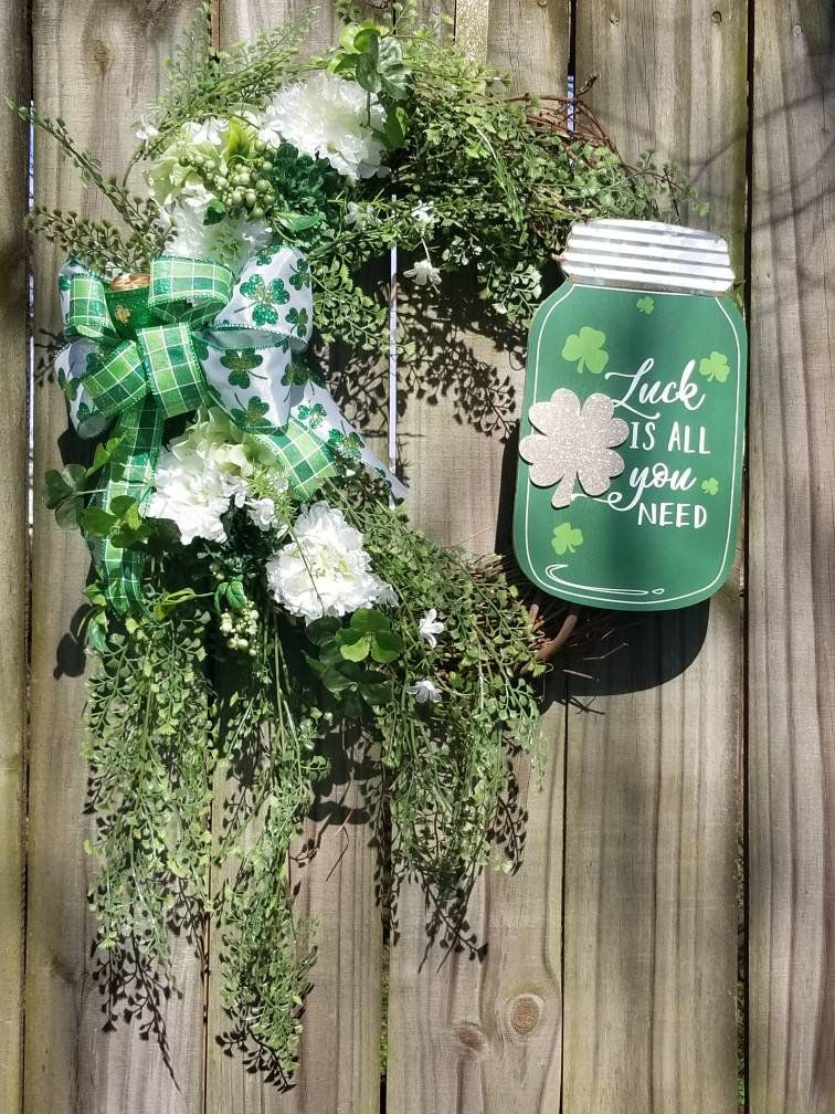 Photo of St Patrick's Day Grapevine Wreath – Luck is All You Need Wreath – March Wreath