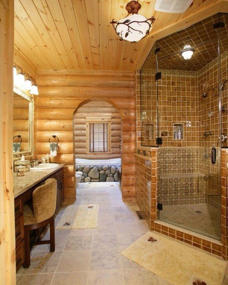 """This bathroom!! #dreamhome #loghome #custombuild #customdesign #custombathroom #dreambathroom #timeforarenovation #wow"""