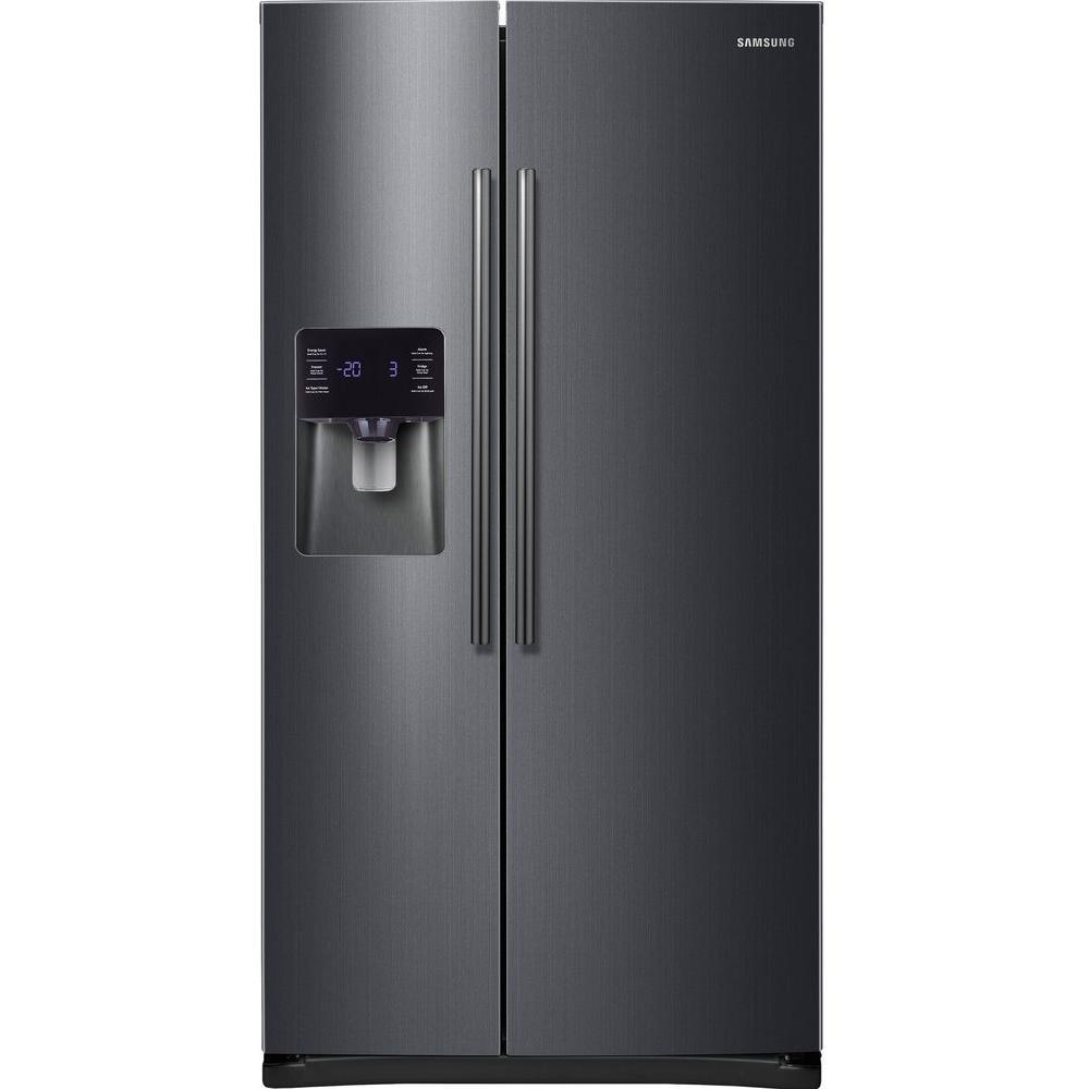 Samsung 24 5 Cu Ft Side By Side Refrigerator In Fingerprint Resistant Black Stainless Black Stainless Steel Steel Tub