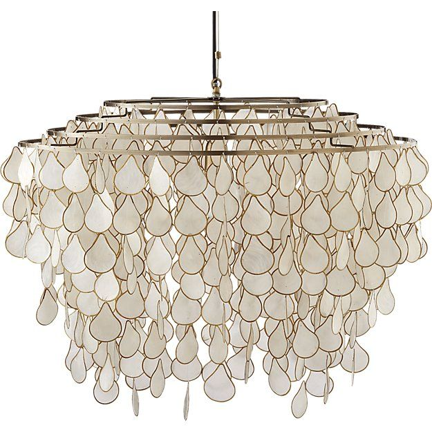 Cb2 teardrops capiz chandelier chandeliers lights and lamp light grand in scale and statement iridescent capiz shells seem to glow mozeypictures Image collections