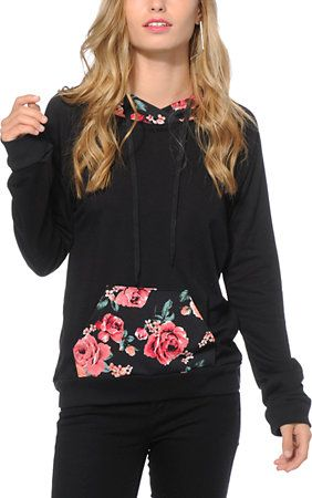 c3bee8915 Lunachix Marissa Floral Pocket Hoodie