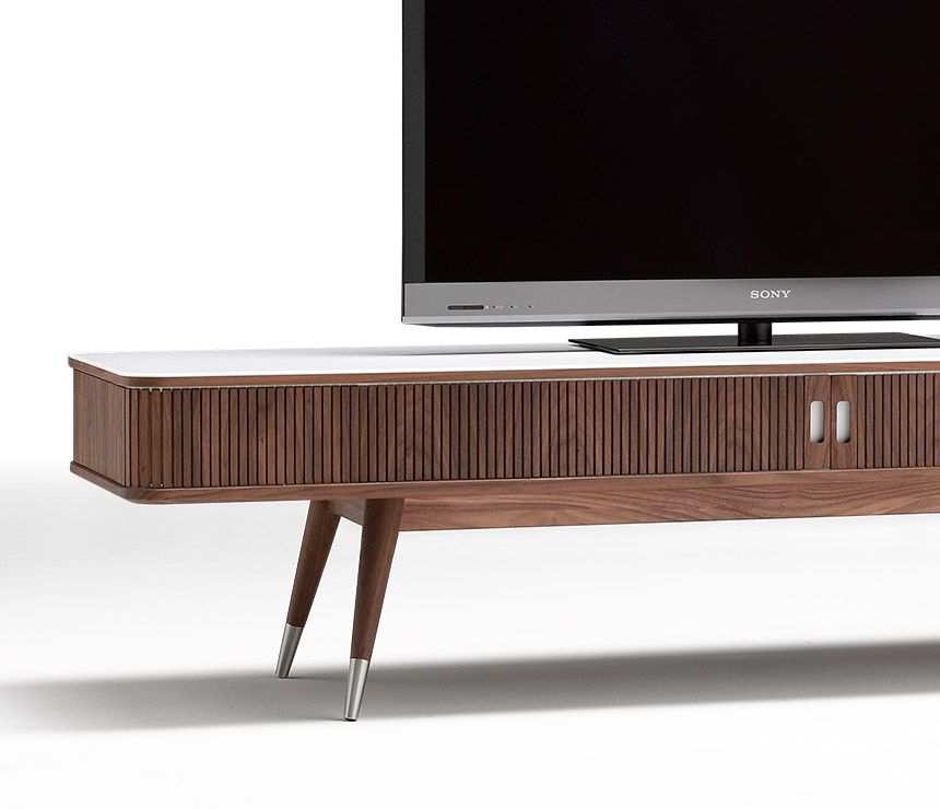 Corian And Walnut Danish Retro Media Cabinet