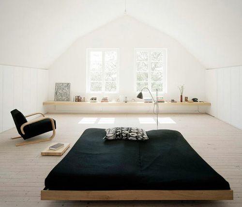 Schicke Kombi: Holzboden U0026 Weiße Wände In Kontrast Zur Schwarzen Bettdecke
