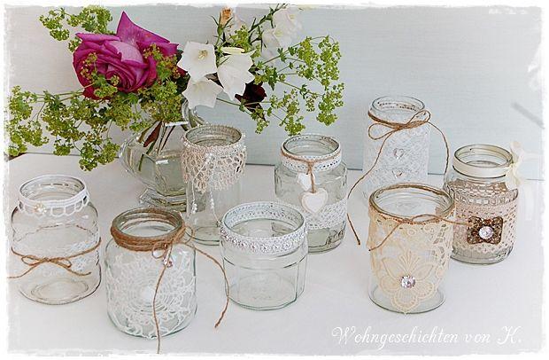 9 Windlichter Hochzeitsdeko Vintage Shabby Deko Wedding
