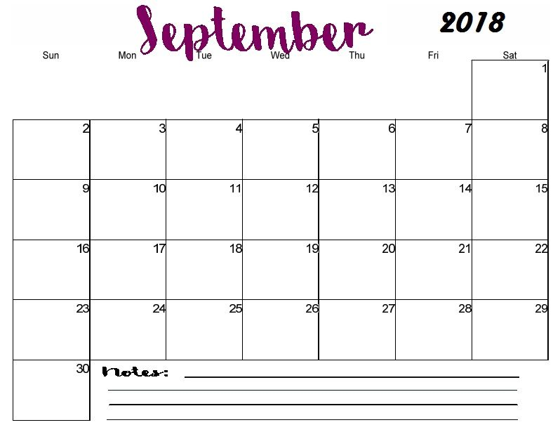 Printable September 2018 Blank Calendar Template PDF September