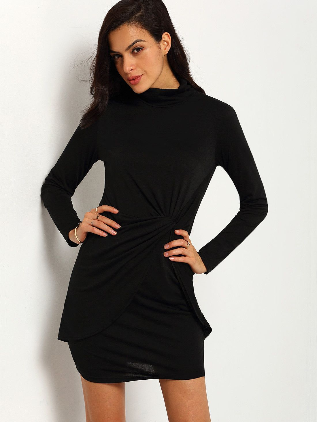 Black turtleneck long sleeve knotted sheath dress get in my closet