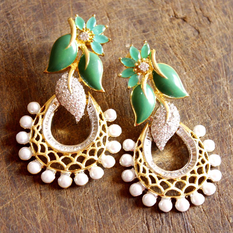 Long Party Wear Earrings With Green Resin Enamel Cz Stones Setting ...