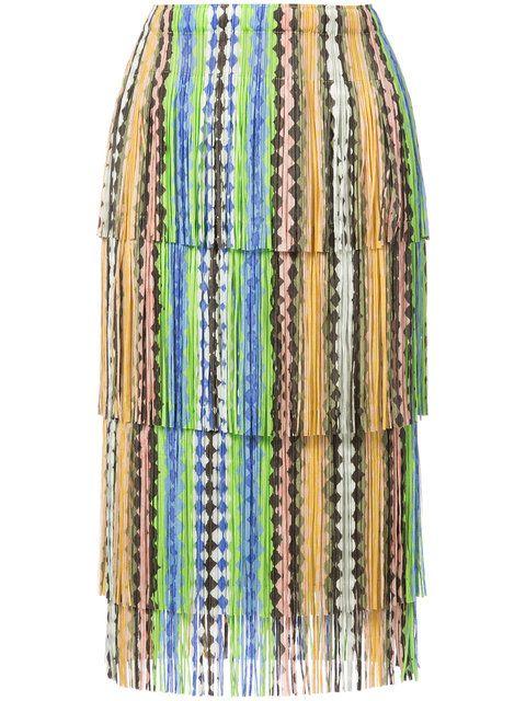 19fb82c3da8d Shop Pleats Please By Issey Miyake fringed skirt .
