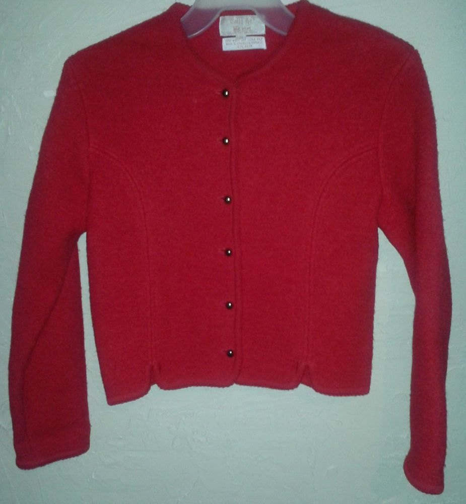 Tally Ho Wool Vtg Red Cardigan Sweater Jacket Womens 14 XL Pin Up ...