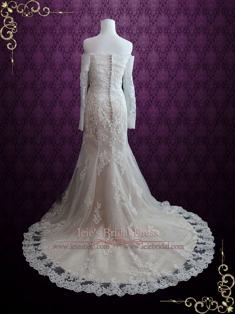 Sexy vintage style lace wedding dress with off shoulder long sleeves